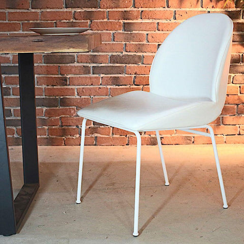 DIANA - Vintage White Leather Dining Chair - Wazo Furniture