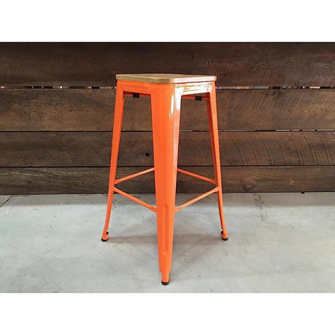 Tolix Style Bar Stool with Wooden seat – Orange Metal- 76cm