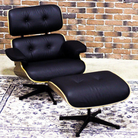 EAMES-STYLE - Molded Lounge Chair and Ottoman (Black with Wooden Frame) - Wazo Furniture