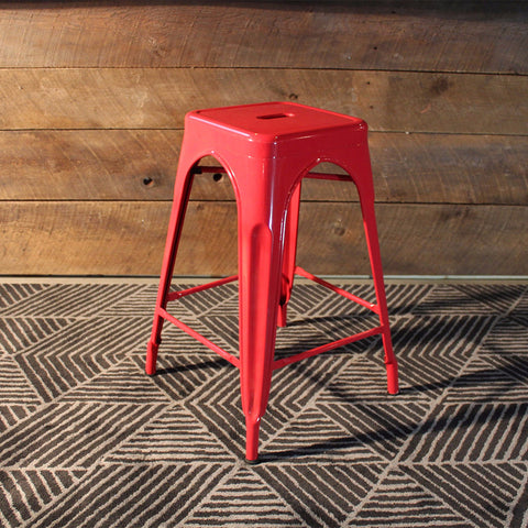 tabouret de bar style tolix rouge meuble wazo. Black Bedroom Furniture Sets. Home Design Ideas