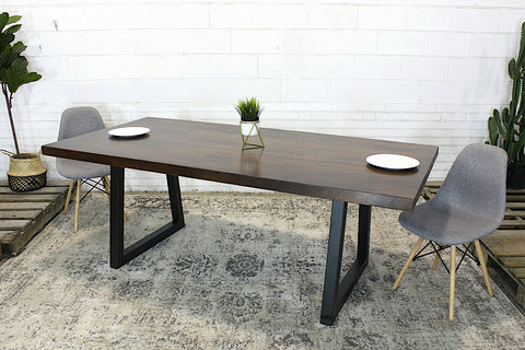 Straight Cut Acacia Wood Table with Black Trapezoid Legs/Honey Walnut