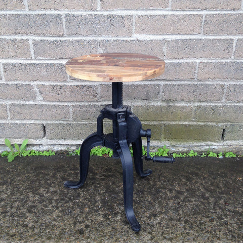 Round Wooden Seat Bar Stool with Handle - Wazo Furniture