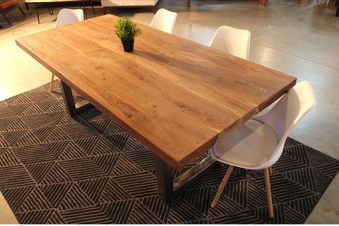 Straight Cut Acacia Wood Table with Heavy Duty Chrome Square Legs/Natural Color