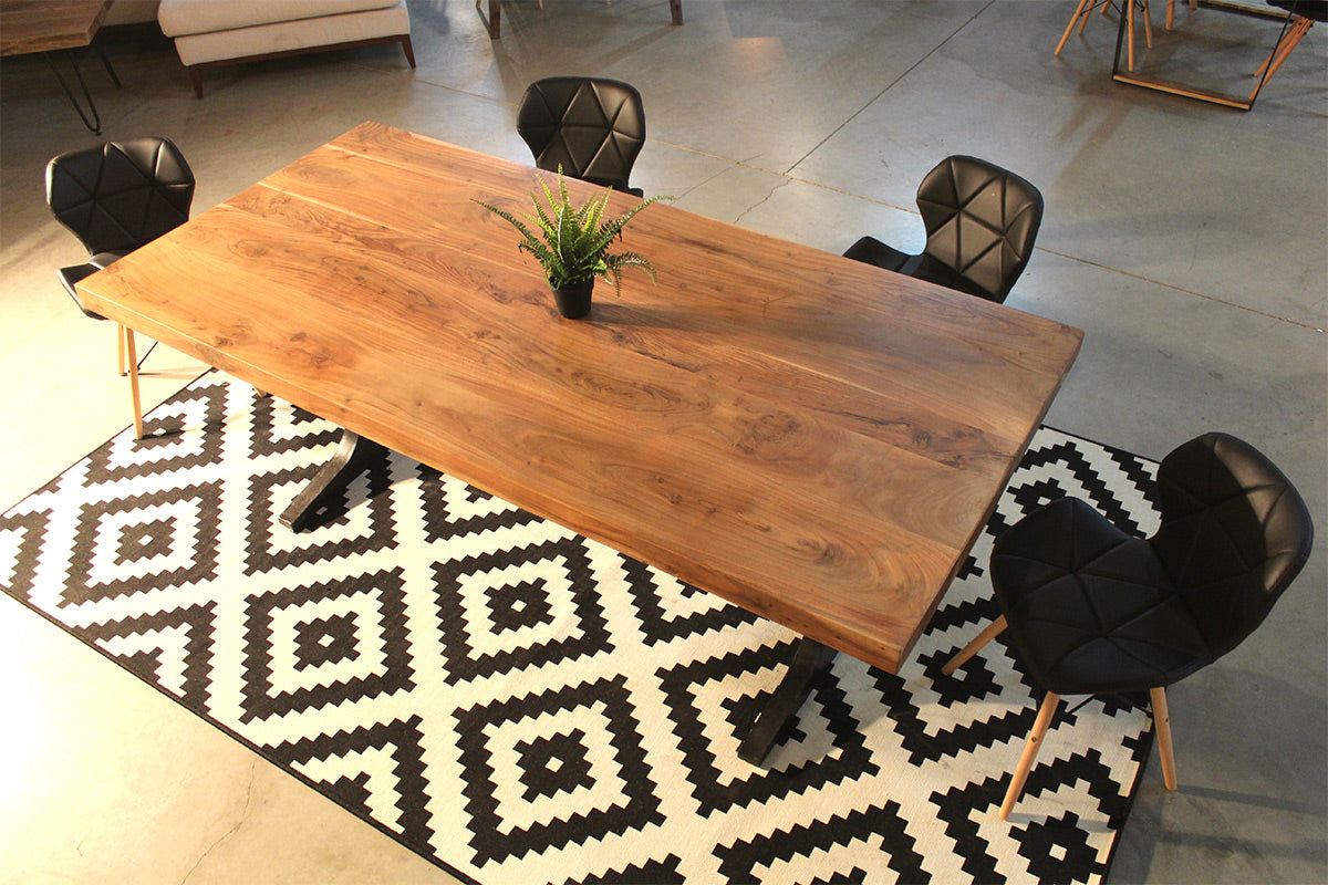 Straight Cut Acacia Wood Table With Anchor Legs Natural Color  # Meubles Acacia