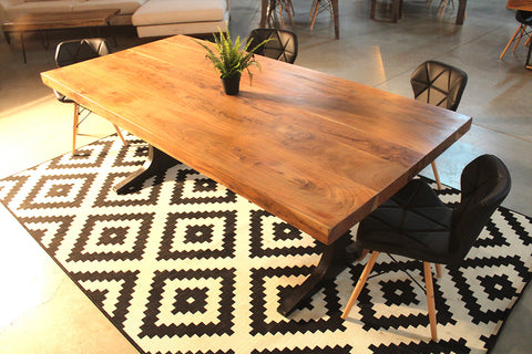 Straight Cut Acacia Wood Table with Anchor Legs
