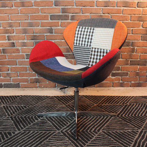 Arne Style Wool Swan Chair in Popular Patchwork - Wazo Furniture