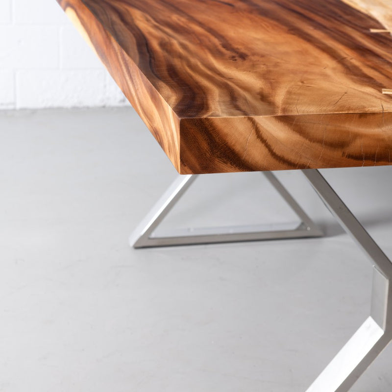 Straight Cut Suar Table with Chrome X Shaped Legs/Natural Finish