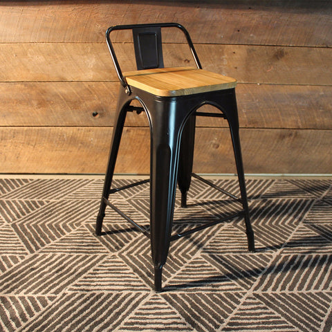 Tolix Bar Stool with Backrest and Wood Seat - 65 cm - Wazo Furniture