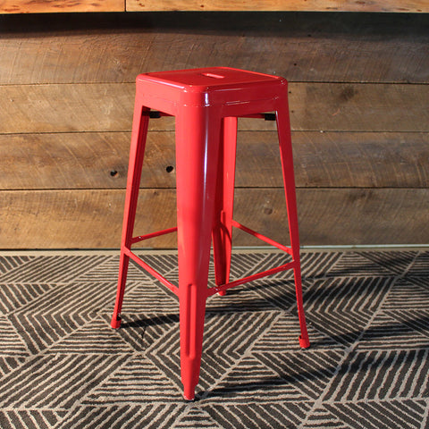 All Metal Tolix Bar Stool - Red - Final Sale