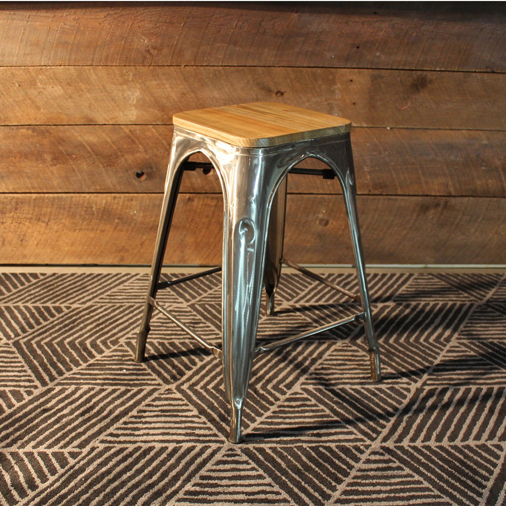 wooden seat bar stools. Tolix Bar Stool With Wooden Seat - Brushed Metal-65cm Wazo Furniture Stools