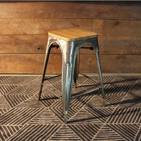 Tolix Bar Stool With Wooden Seat - Brushed Metal-65cm - Wazo Furniture