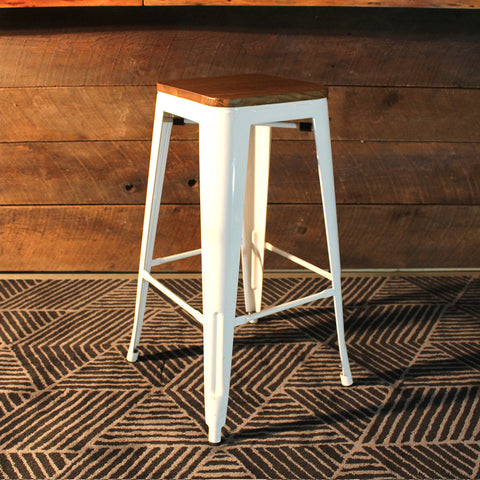 Tolix Style Bar Stool with Wooden seat – White Metal- 76cm - Wazo Furniture