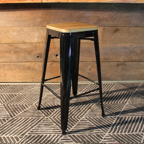 Tolix Style Bar Stool with Wooden seat – Black Metal- 76cm - Wazo Furniture