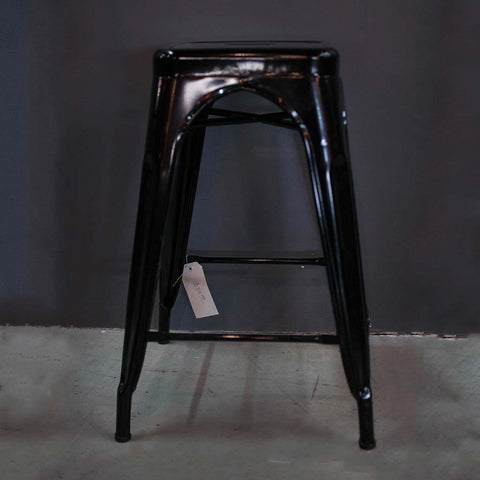 All Metal Tolix Bar Stool -Matte Black - Wazo Furniture