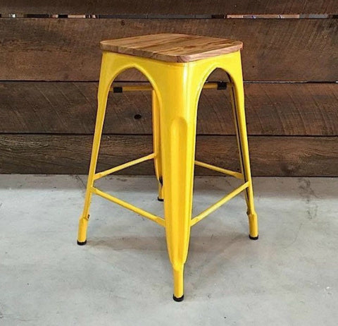 Tolix Bar Stool With Wooden Seat - Yellow Metal-65cm - Wazo Furniture