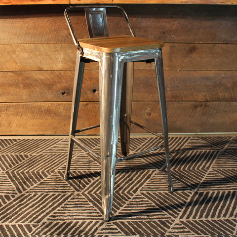 Tolix Bar Stool with Backrest and Wood Seat - 75 cm - Wazo Furniture