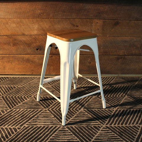 Tolix Bar Stool With Wooden Seat - White Metal-65cm
