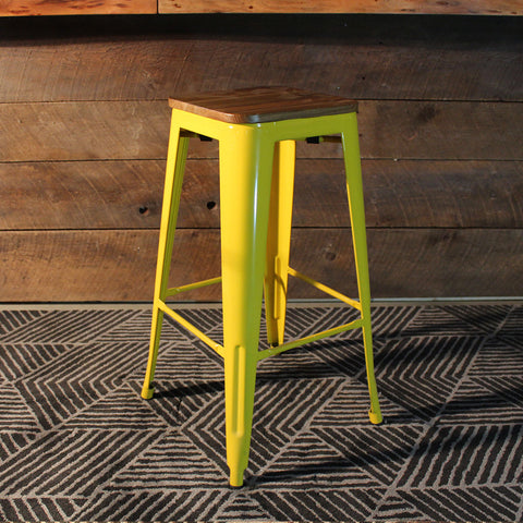 Tolix Style Bar Stool with Wooden seat – Yellow Metal- 76cm - Wazo Furniture