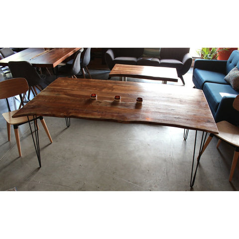 Acacia Live Edge Natural Wood Table - Triple Hairpin Legs