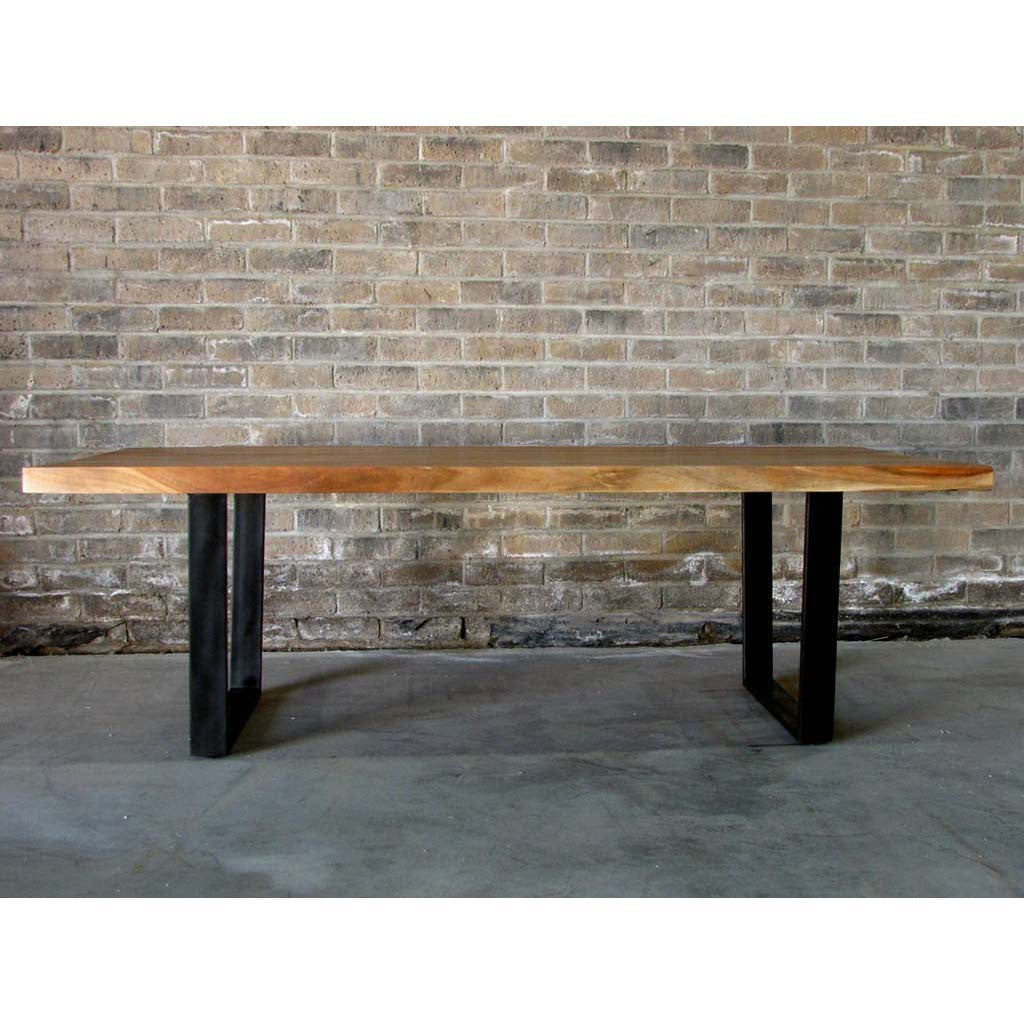 straight cut acacia wood table with black thin u legsnatural color