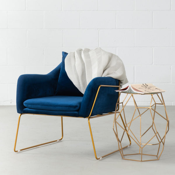 BROOK - Blue Velvet Lounge Chair