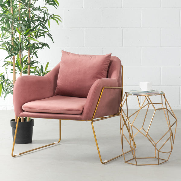 BROOK - Pink Velvet Lounge Chair