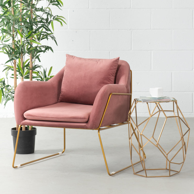 BROOK - chaise longue en velours rose