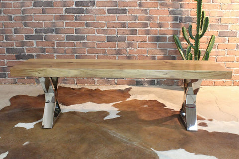 Acacia Straight Edge Wood Bench with Chome X-shaped Legs/Natural - Wazo Furniture