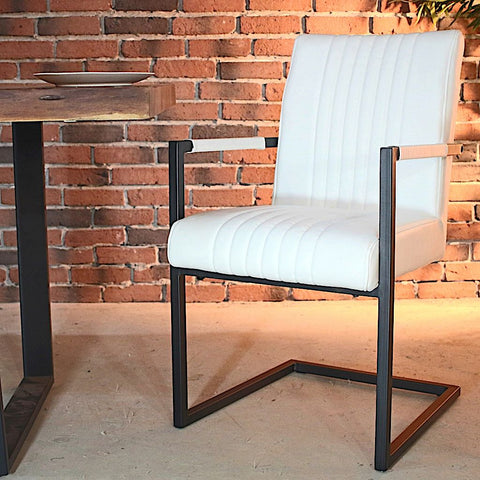 CALEB Industrial Armchair - Vintage White Leather - Wazo Furniture