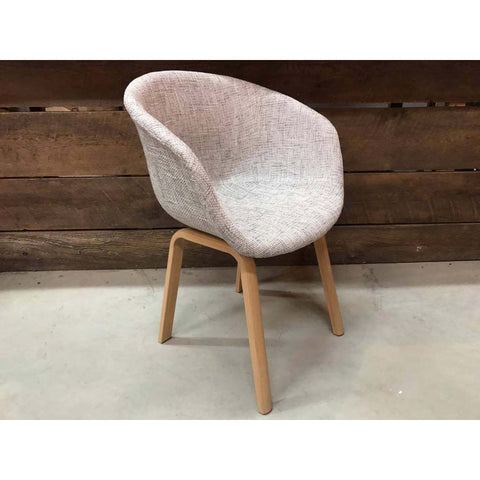 Scandinavian Bucket Chair with Grey Fabric