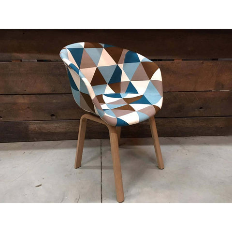 Scandinavian Bucket Chair with Triangle Patchwork Fabric - Wazo Furniture