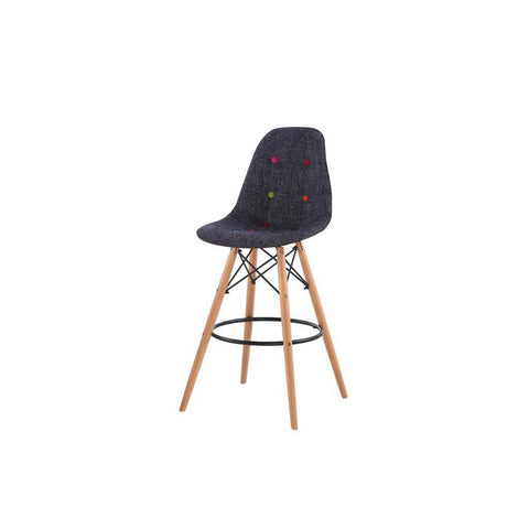 Eames Style Wazo Colour Button Fabric Bar Stool