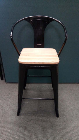 Tolix Bar Stool with Armrest and Wood - 68 cm-Black-Final Sale - Wazo Furniture