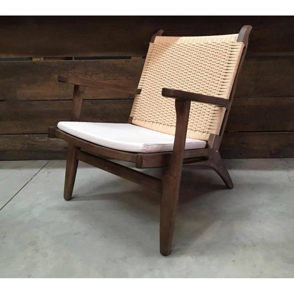 hans wegner wooden easy lounge chair wazo furniture