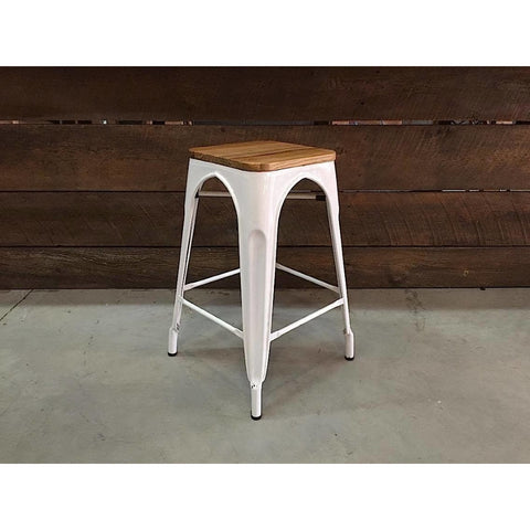 tolix bar stool wooden seat white metal