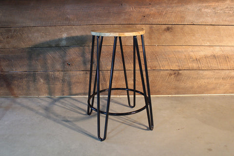 Tori Industrial Metal Hairpin Bar Stool with Wooden Seat