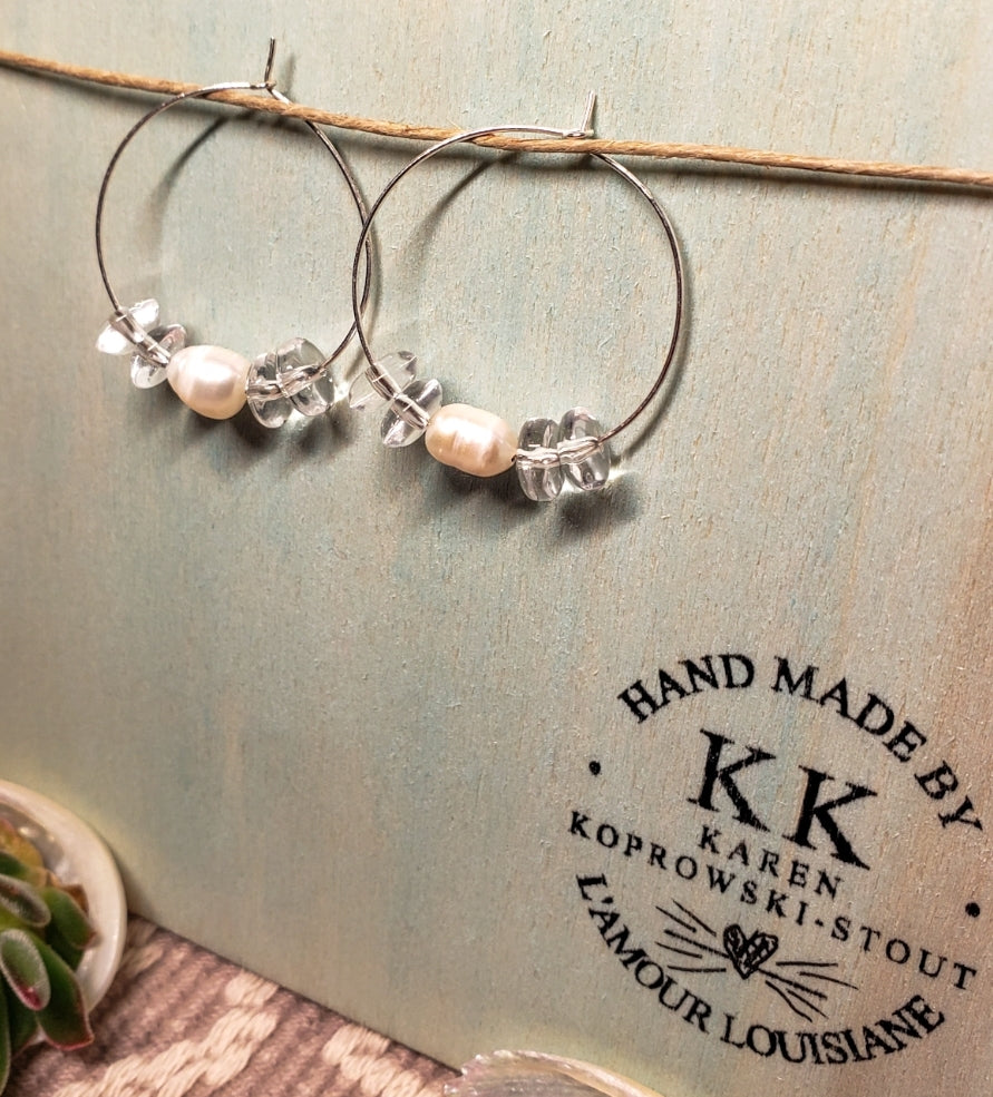 FRESH WATER PEARL & QUARTZ Earrings