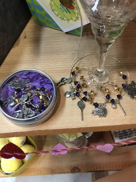 Purple and Gold WINE CHARMS Handmade by L'Amour Louisiane