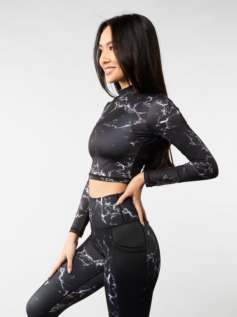 Limitless Mock Neck Top - Black Marble