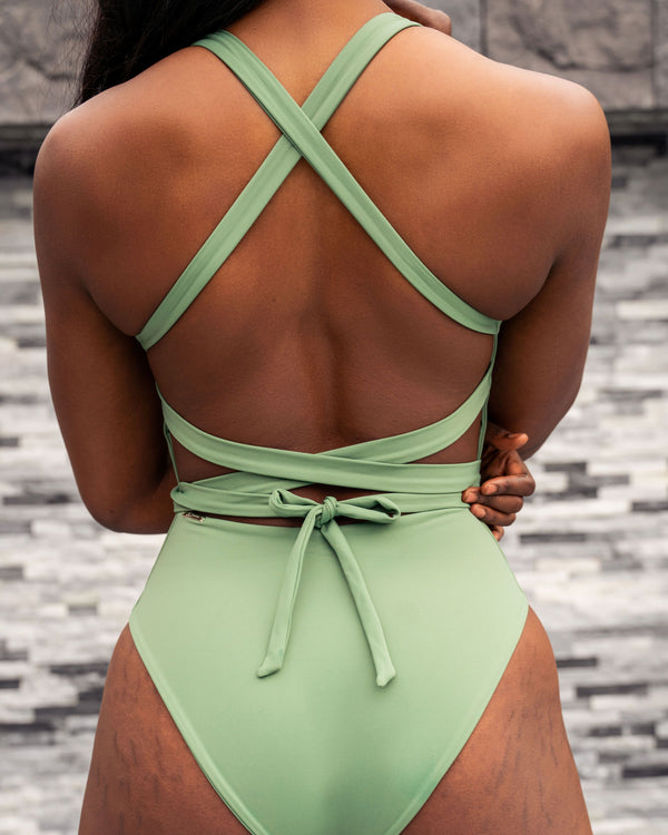 That's a Wrap One Piece - Palm Tree Green