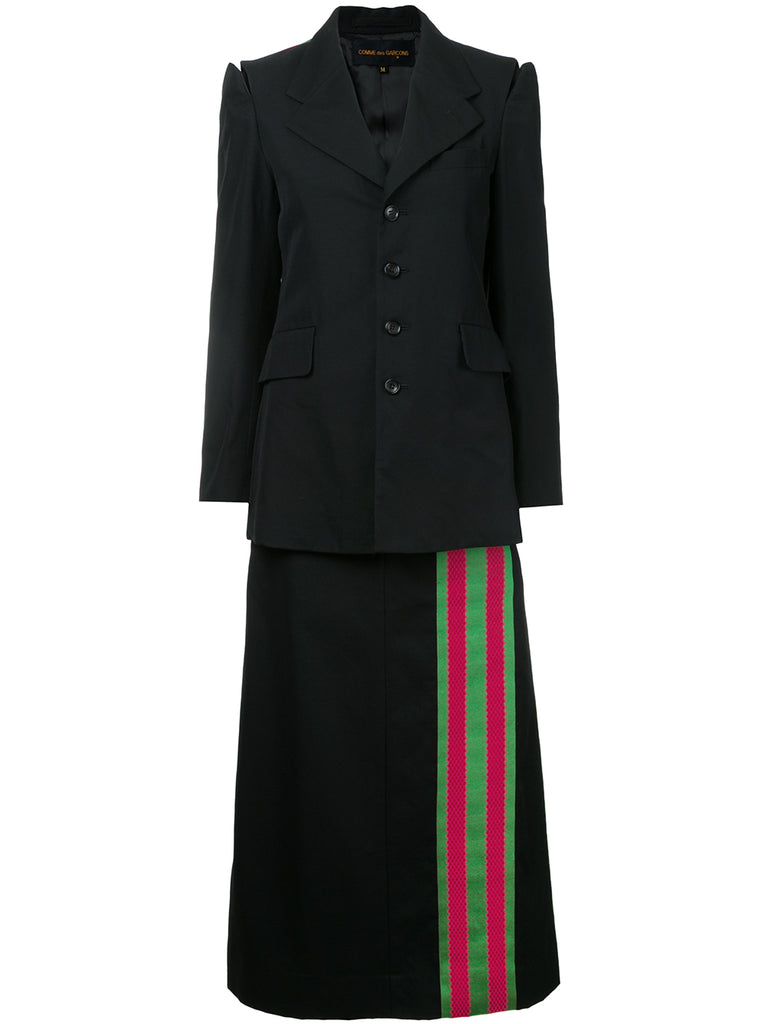 COMME DES GARÇONS striped trimmed blazer and skirt set