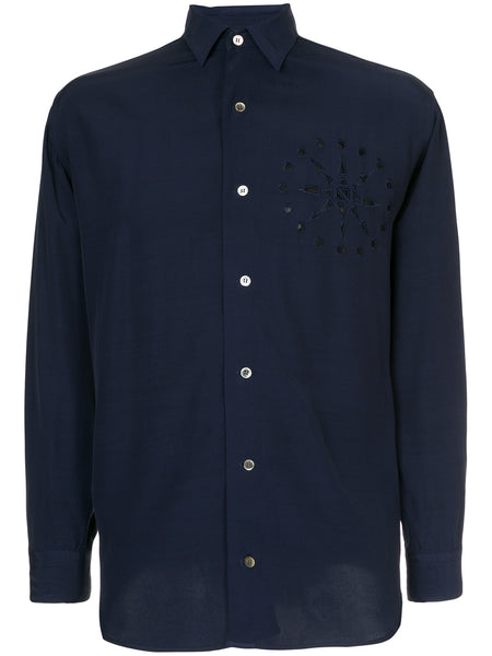 YOHJI YAMAMOTO perforated chest detail shirt