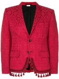 COMME DES GARÇONS Homme Plus Red Embroidered 2 Button Jacket with Fringe