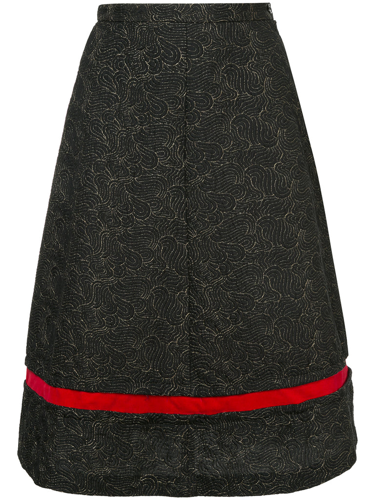 COMME DES GARÇONS abstract embroidery flared skirt