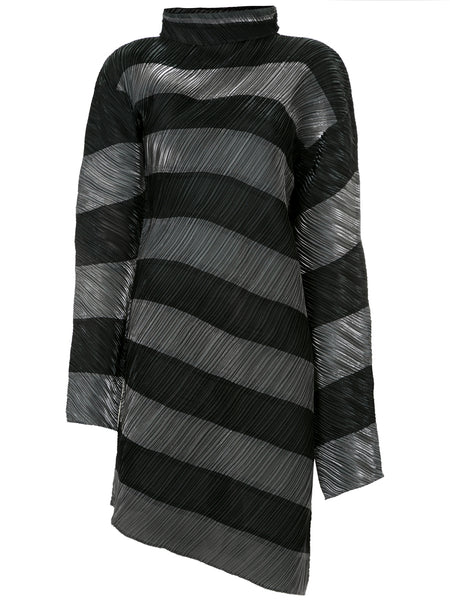 ISSEY MIYAKE iridescent diagonal striped dress