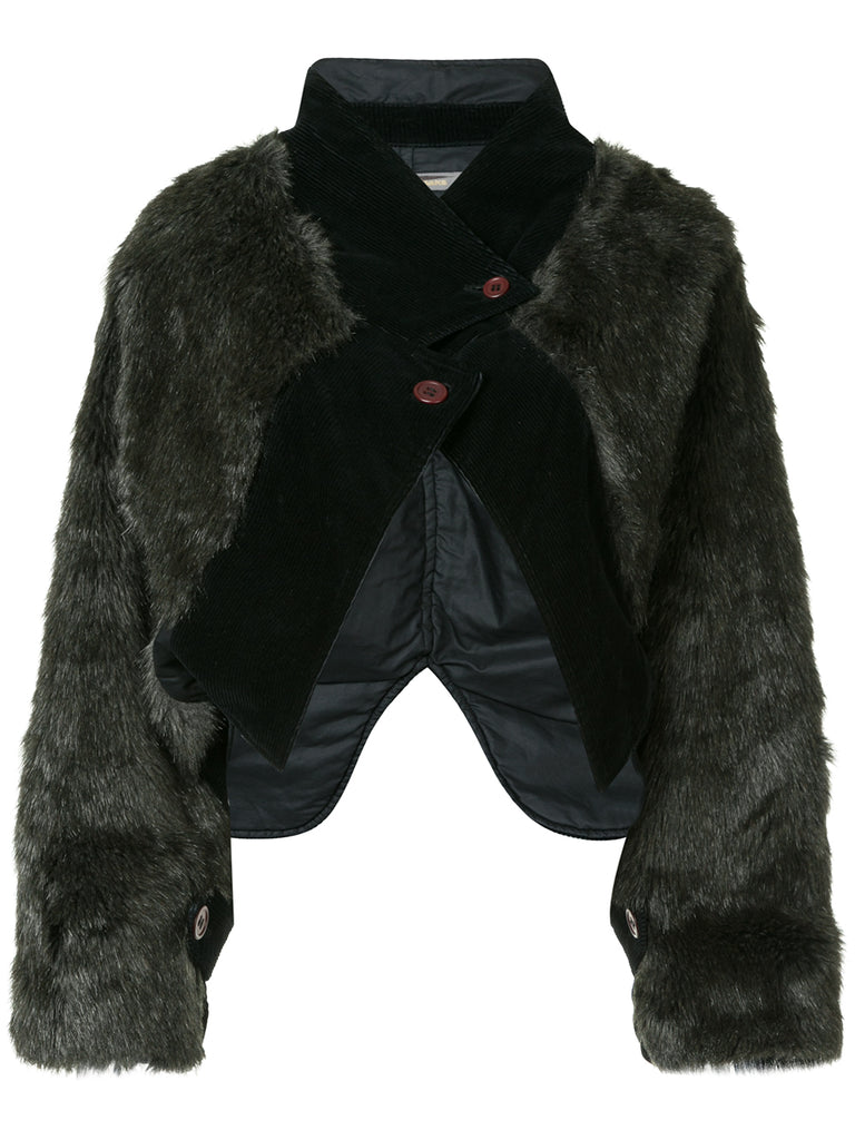ISSEY MIYAKE corduroy and faux fur jacket