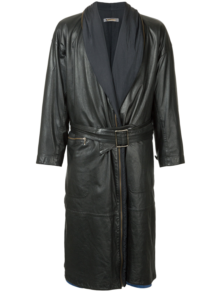 ISSEY MIYAKE leather trench coat