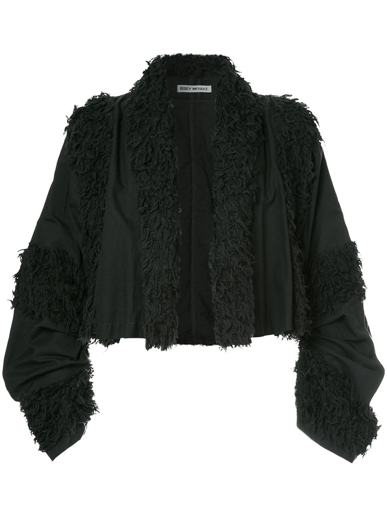 ISSEY MIYAKE faux shearling-trimmed cropped jacket