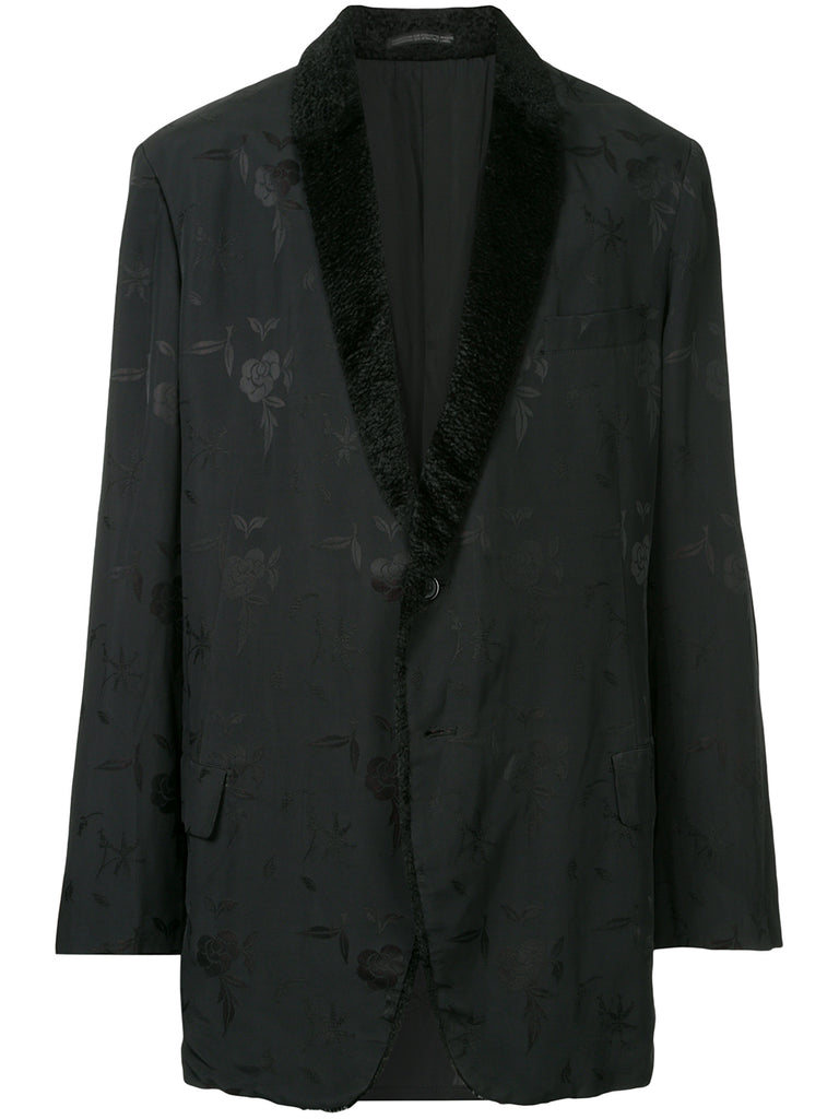 YOHJI YAMAMOTO Pour Homme floral-embroidered contrast-collar blazer