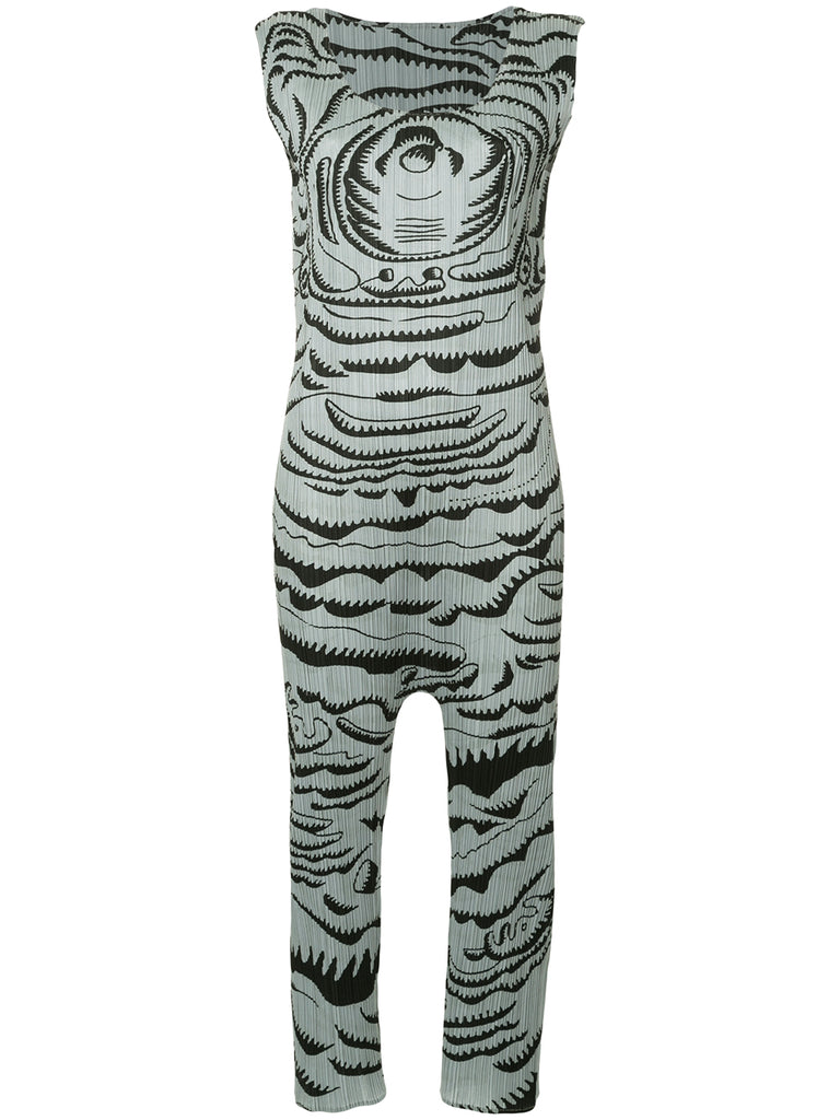 ISSEY MIYAKE abstract print pleated jumpsuit